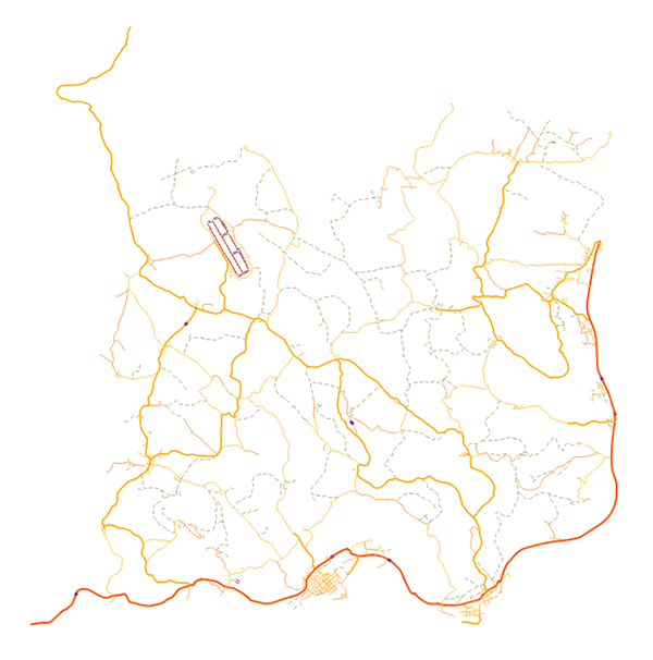 Chernarus Roads as a Shapefile