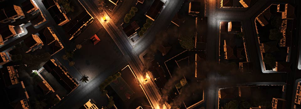 Destroyed vehicles light the night time streets of Kavala, Altis.